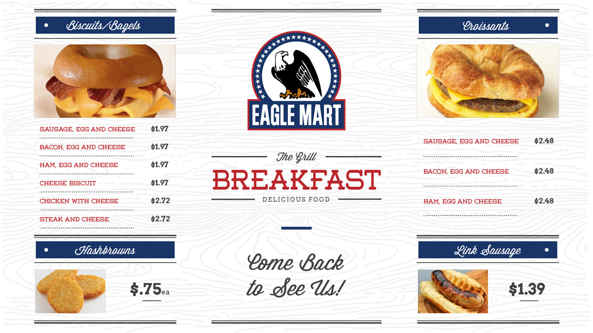Eagle Mart Breakfast Menu