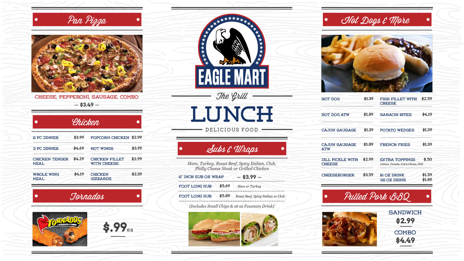 Eagle Mart Lunch Menu